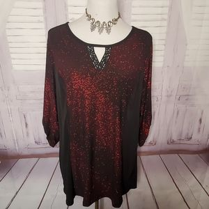 NY COLLECTION PLUS SIZE 1X PARTY WOMENS BLOUSE TOP